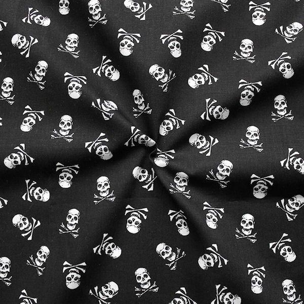 """100% Baumwolle Popeline """"Skulls 5"""" Farbe Schwarz"""