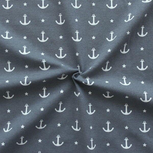 "Baumwoll Stretch Jersey ""Anker & Sterne 2"" Farbe Grau"