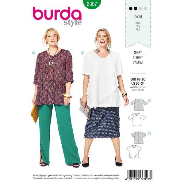 Blusen Shirt, Shirt mit Volant, Gr. 25 - 60, Schnittmuster Burda 6307