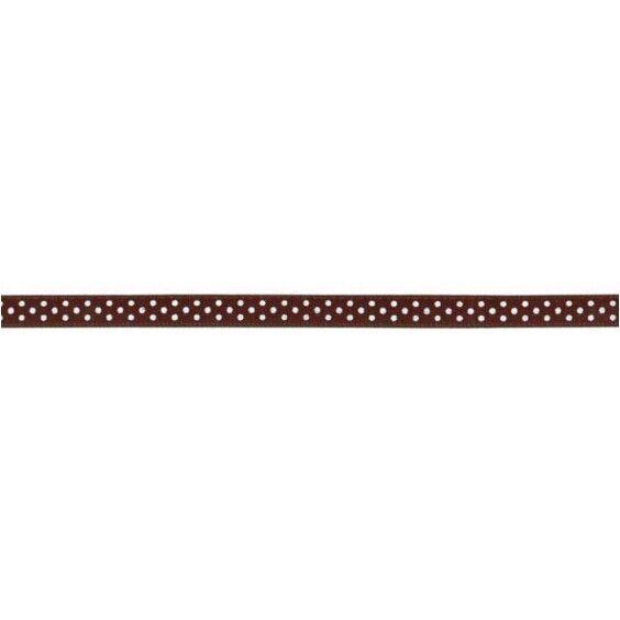 Prym Satinband gepunktet 6mm x 4m (Breite / Länge) braun / weiss