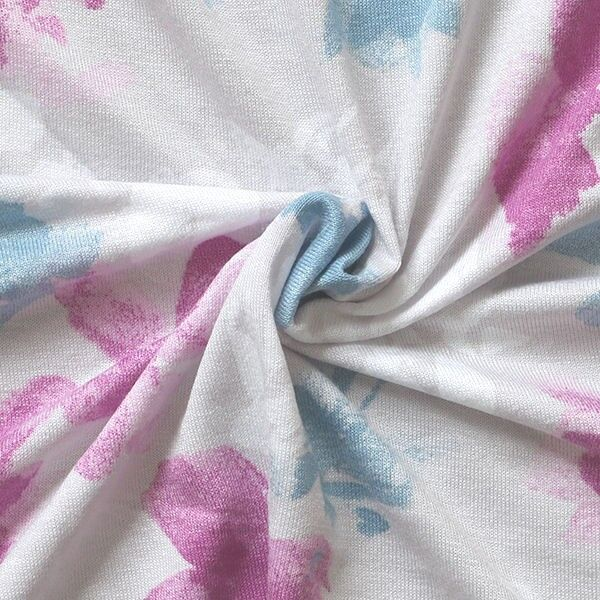 Viskose Stretch Jersey Fashion Blosssoms Fuchsia-Blau
