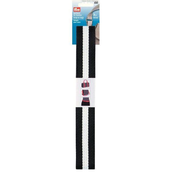 Prym 3m Gurtband für Taschen, 40mm, Schwarz-Weiss