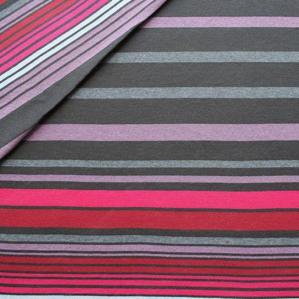 Feinstrick Jersey Streifen Mix Grau-Multicolor
