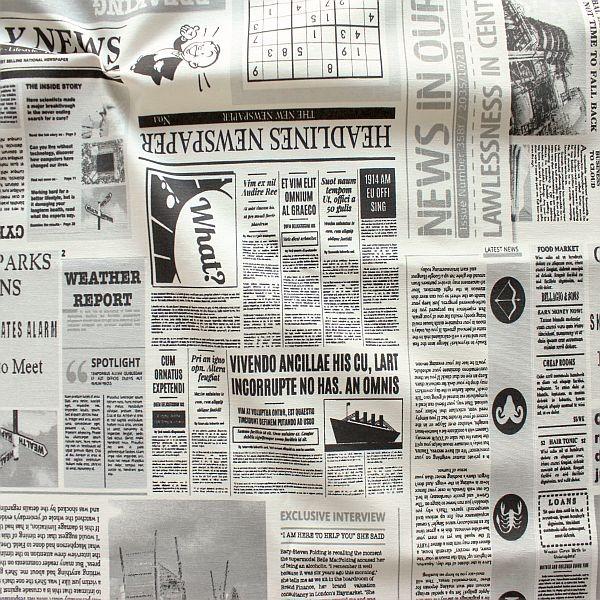 Dekostoff Zeitung Ecru-Schwarz