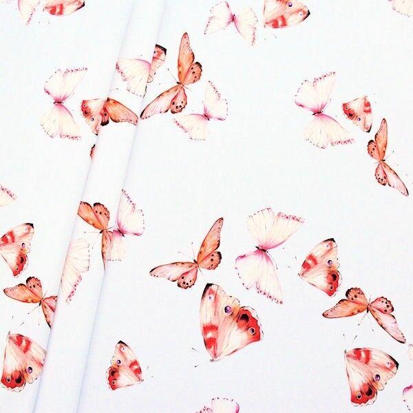 """Dekostoff Digital Druck """"Butterflys"""" Farbe Weiss"""