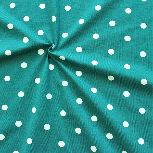Baumwoll Stretch Jersey Classic Dots Wasser-Blau Weiss