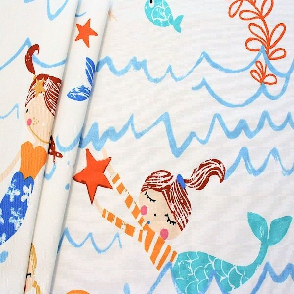 "Design Dekostoff Halbpanama ""Mermaid"" Farbe Creme-Weiss Blau"