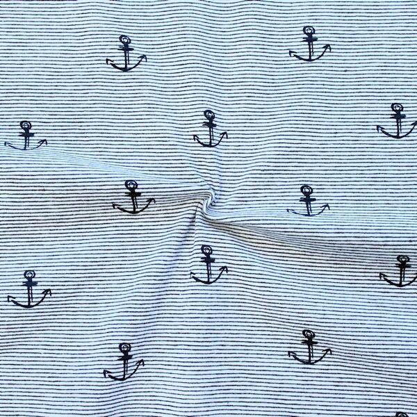 """Baumwoll Stretch Jersey """"Anker & Streifen"""" Farbe Navy-Blau Weiss"""