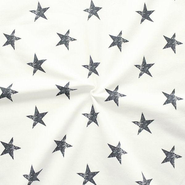 "Sweatshirt Baumwollstoff French Terry ""Sterne Used Look 2"" Farbe Ecru"