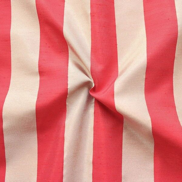 Deko Taft Stoff Streifen Breit Beige-Rot