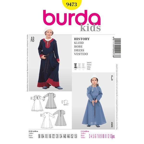 Burda 9473 Schnittmuster für historisches Kinderkostüm Kleid mit Haube