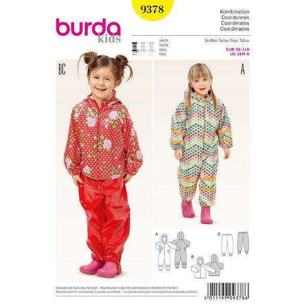 Burda 9378 Schnittmuster für Overall mit Kapuze und Anorak mit Steghose
