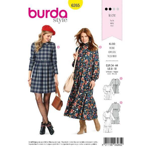 Kleid mit Bubikragen  – Midikleid mit Stufenrock, Gr. 34 - 44, Schnittmuster Burda 6265