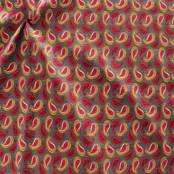 Feincord Baumwollstoff Paisley Grau