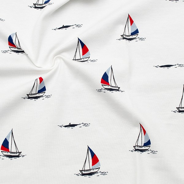Baumwoll Stretch Jersey Segelschiffe Weiss