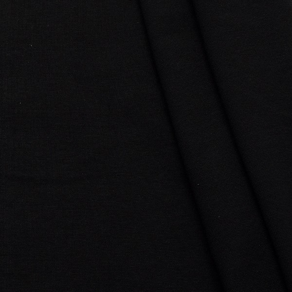 Baumwoll Bündchenstoff glatt 70cm Schwarz