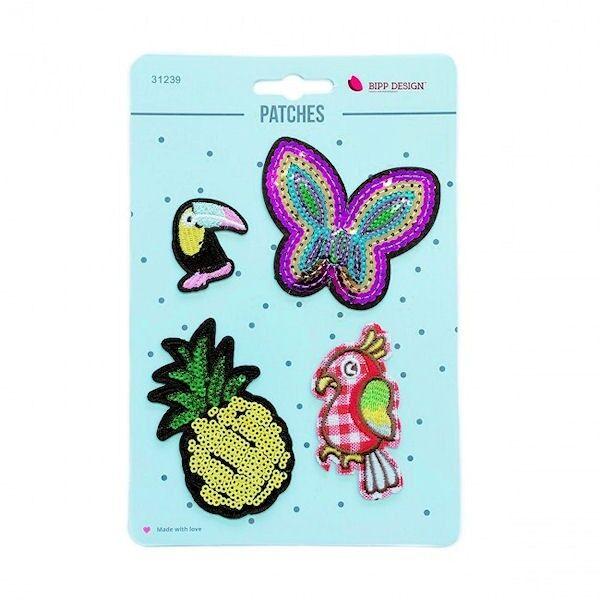 Patches Bügelbilder 4er Set Schmetterling Ananas