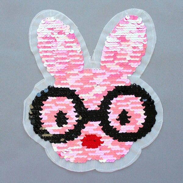 Wendepailletten Patch Nerd-Bunny Rosa-Pink