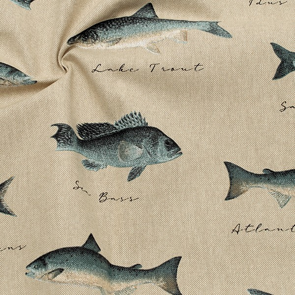 Dekostoff Halbpanama Leinen Optik Fisch Vintage Natur