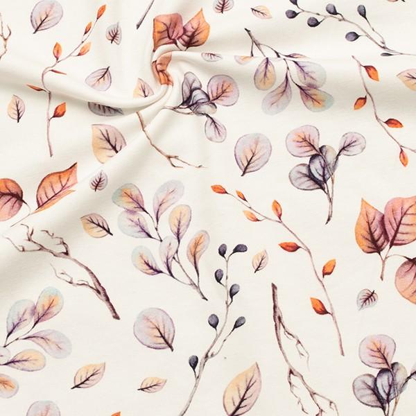 Baumwoll Stretch Jersey  Blätter und Zweige Creme-Weiss