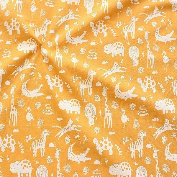 Baumwolle Popeline Safari Tiere Ocker-Gelb