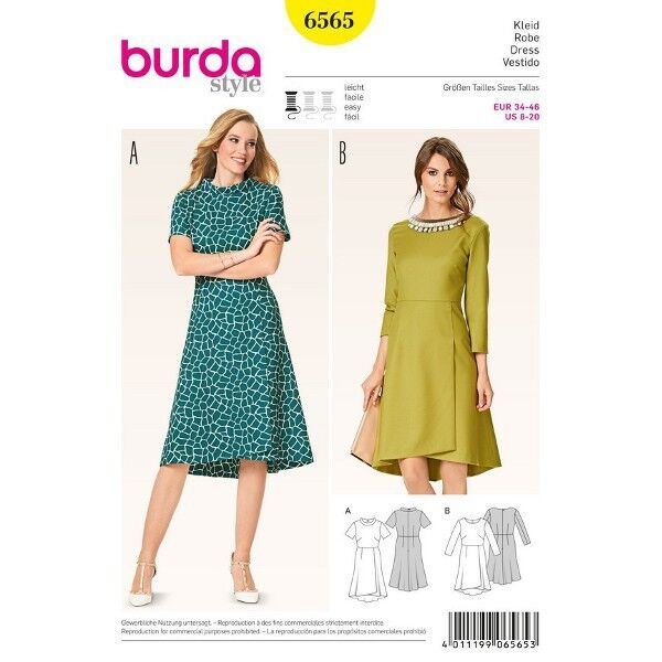 Kleid mit Wickelrock, Gr. 34 - 46, Schnittmuster Burda 6565