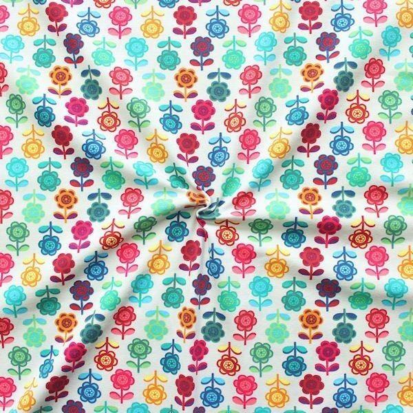 Baumwoll Stretch Jersey Blumen Reihen Hell-Grau