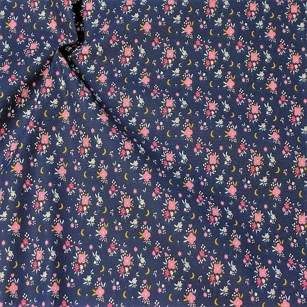 Baumwollstoff Streublümchen Blau