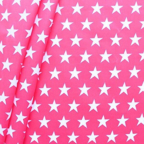 Baumwollstoff beschichtet Sterne Groß Pink