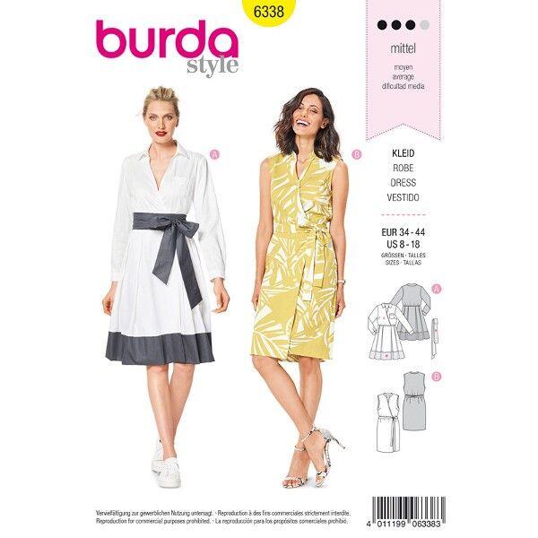 Kleid,  Wickelkleid 34 - 44, Schnittmuster Burda 6338
