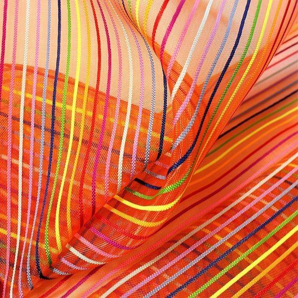 Netzstoff Meshgewebe Streifen Orange