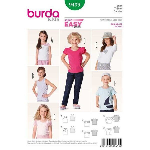T-Shirt – Top, Gr. 98 - 152, Schnittmuster Burda 9439
