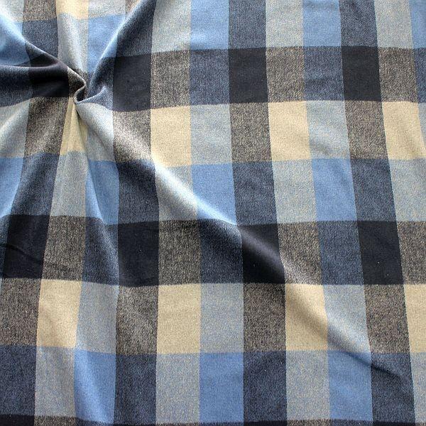 Doubleface  Mantelflausch Wollmix Karo Blau-Grau