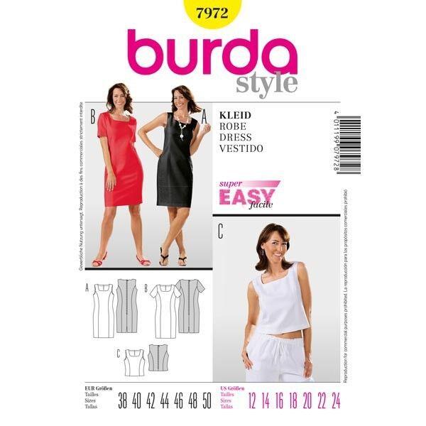 Kleid und Top, Gr. 38 - 50, Schnittmuster Burda 7972