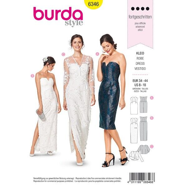 Cocktailkleid, Hochzeitskleid, Bolero 34 - 44, Schnittmuster Burda 6346