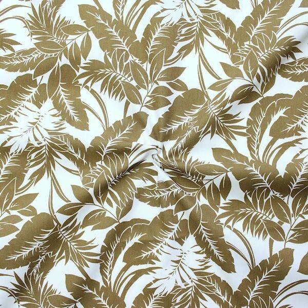 "100% Baumwolle Popeline ""Hawaii Palmen"" Farbe Braun-Oliv"