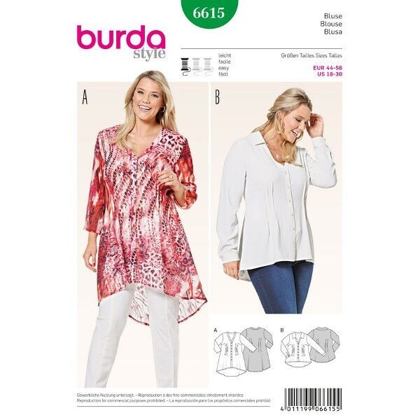 Bluse - gesteppte Fältchen - V-Ausschnitt, Gr. 44 - 56, Schnittmuster Burda 6615