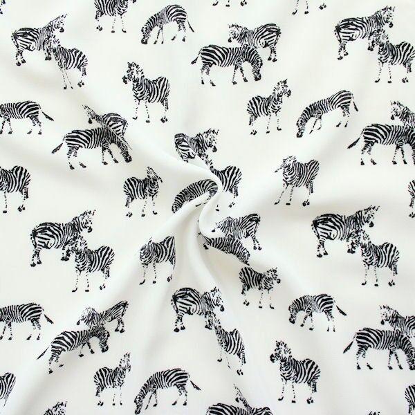 Crêpe Chiffon Zebras Ecru