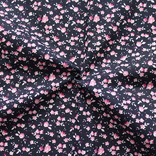 Baumwolle Popeline Millefleurs Dunkel-Blau Rosa