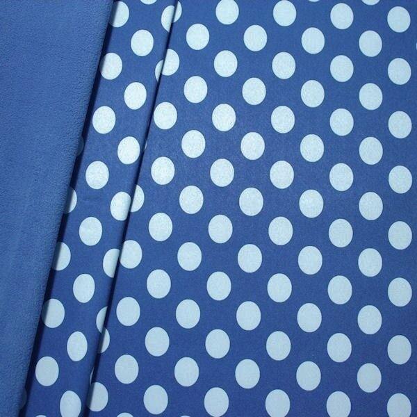 "Softshell Fleece Stoff ""Punkte Groß"" Farbe Royal-Blau"