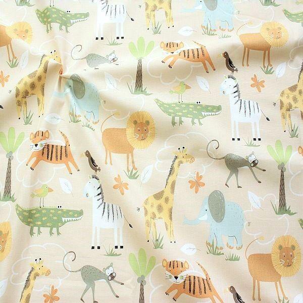 100% Bio Baumwollstoff Safari Tiere Hell-Elfenbein