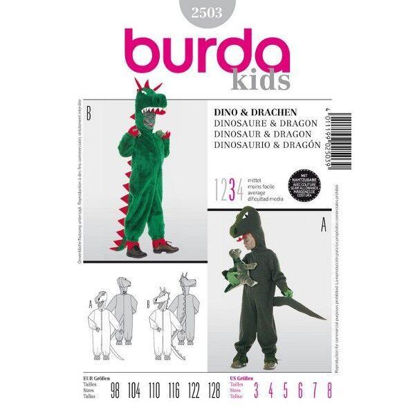 Overall, Dino oder Drache, Gr. 98 - 128, Schnittmuster Burda 2503