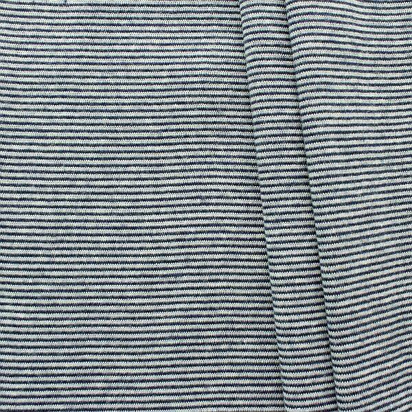 Baumwoll Bündchenstoff Ringel Mini glatt Navy-Weiss
