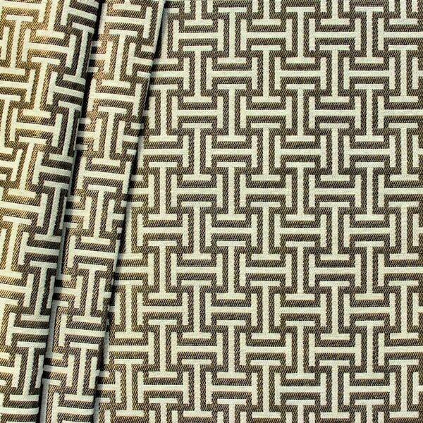 "Jacquard Dekostoff ""Labyrinth"" Farbe Gold-Beige"