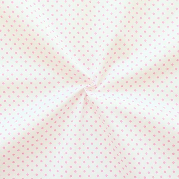 Baumwollstoff Tupfen Weiss Rosa