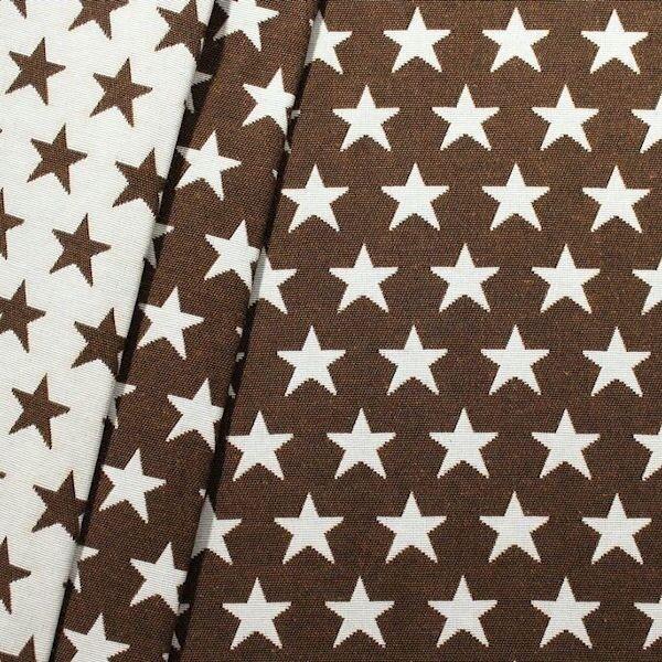 Jacquard Dekostoff Doubleface Stars Braun-Weiss