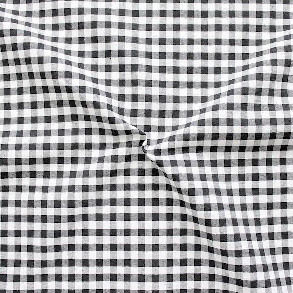 """Baumwollstoff Hemden Qualität Vichy """"Karo mittel"""" Farbe Schwarz-Weiss"""