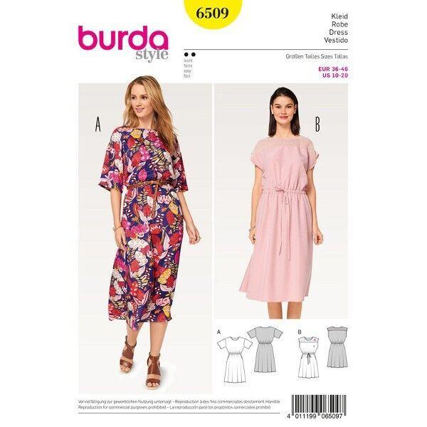 Kleid - Gummidurchzug in der Taille, Gr. 36 - 46, Schnittmuster Burda 6509