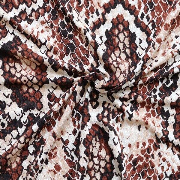 Viskose Stretch Jersey Reptil Print Braun-Beige