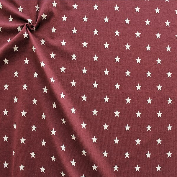 Baumwoll Stretch Jersey Classic Stars Bordeaux-Weiss